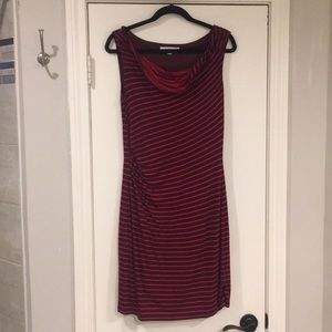 LOFT Stripe Cowl Neck Knit Sleeveless Red Dress -M